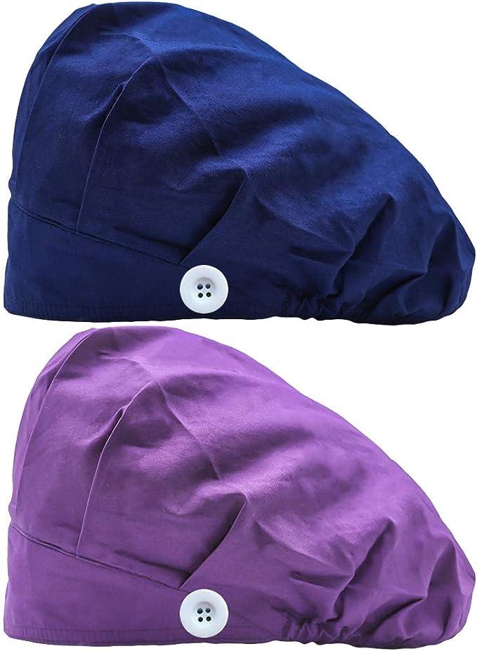 2PCS Pattern Printed Bouffant Cap Hat Cute Pattern Printing Soft  Adjustable Hat