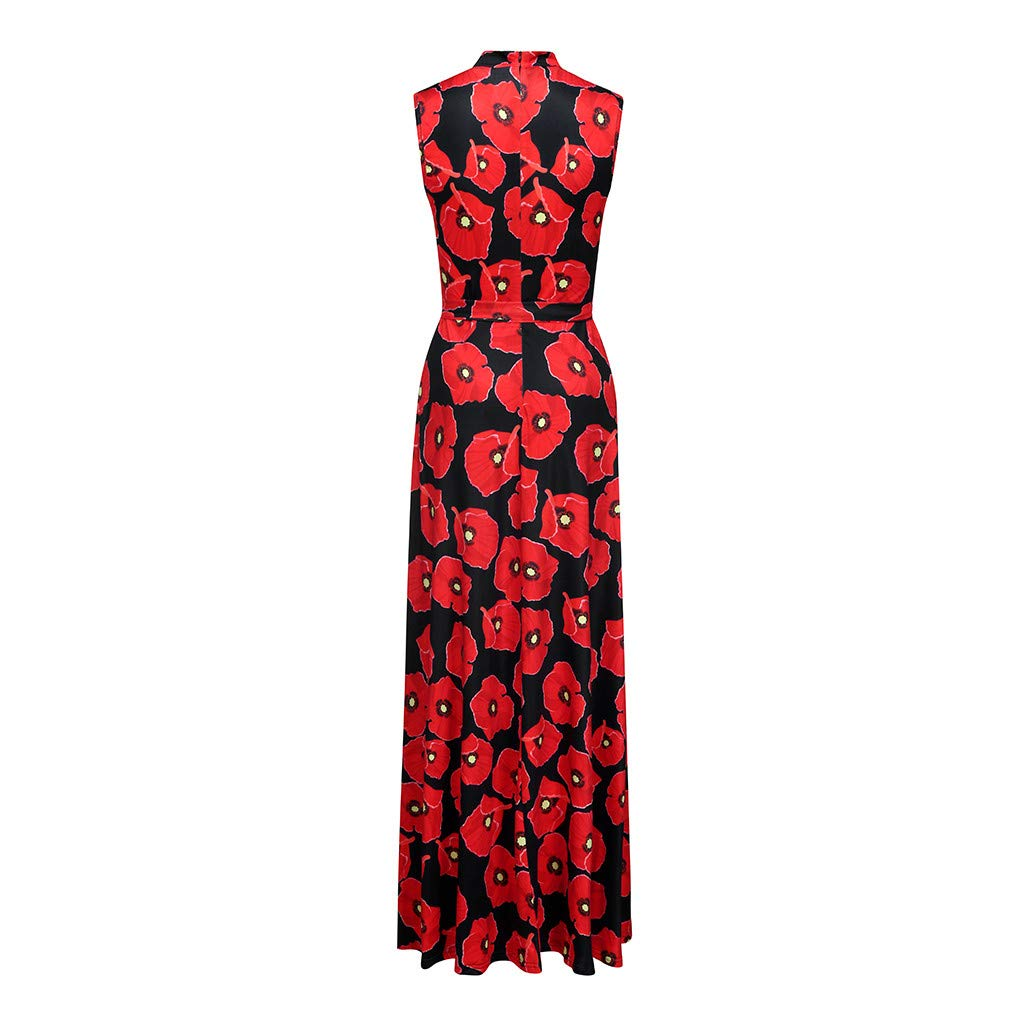 Women's Elegent O-Neck A-line Dress Casual Floral Vintage Evening Party Long Dress (Black, S) by Sihand (Image #4)
