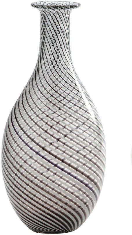 "New 14/"" Hand Blown Art Glass Teardrop Vase Black White Clear Decorative"