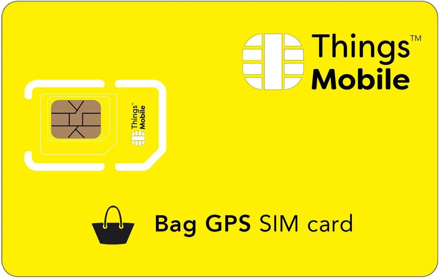 Tarjeta SIM para TRACKER / LOCALIZADOR GPS de MALETAS Things Mobile - con cobertura global y red multioperador GSM/2G/3G/4G, sin costes fijos, sin vencimiento. 10 € de crédito incluido