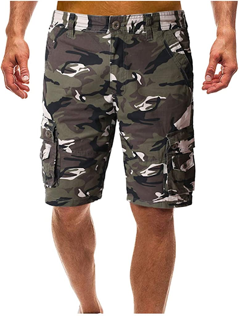 EINCcm Mens Cotton Relaxed Fit Fit Outdoor Camouflage Camo Cargo Shorts