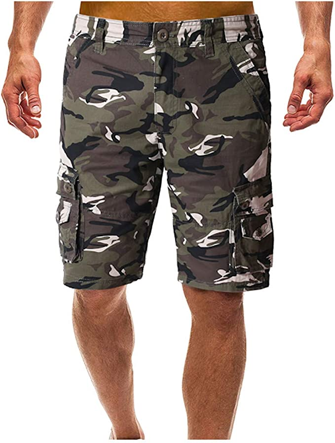 YONGM Mens Casual Outdoor Camouflage Multi Pocket Lightweight Cotton Shorts