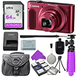 Canon PowerShot SX620 HS Digital Camera (Red) with 64GB SD Memory Card + Accessory Bundle
