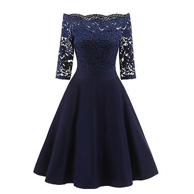 1f8baf40e8b2fb Damen Abendkleid Elegant Cocktailkleid Vintag Kleider 3/4 Arm mit Spitzen  Knielang Party Kleid Weinrot