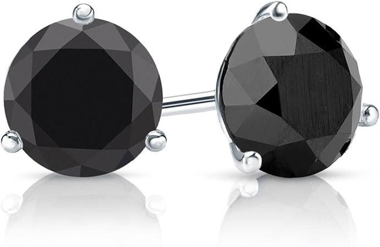2.10 CT Brilliant Round Cut Black CZ Martini Fancy Stud Earrings 14k White Gold Screw Back Clara Pucci CP|B2EAR|86