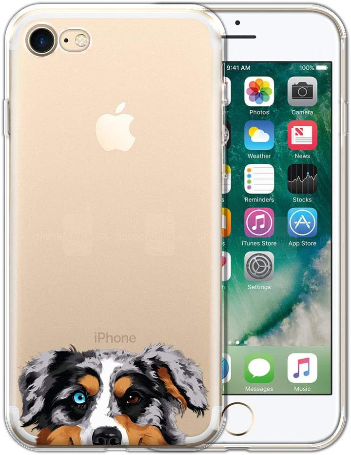 FINCIBO Case Compatible with Apple iPhone 7/8 4.7 inch/iPhone SE 2020, Clear Transparent TPU Protector Case Cover Gel for iPhone 7/8 / SE (NOT FIT 7 Plus) - Merle Aussie Australian Shepherd Dog