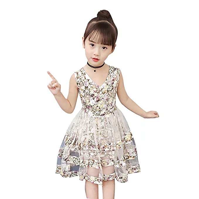Girls Kid Cartoon Princess Ruffle Tutu Dress Casual Party Summer Holiday Costume