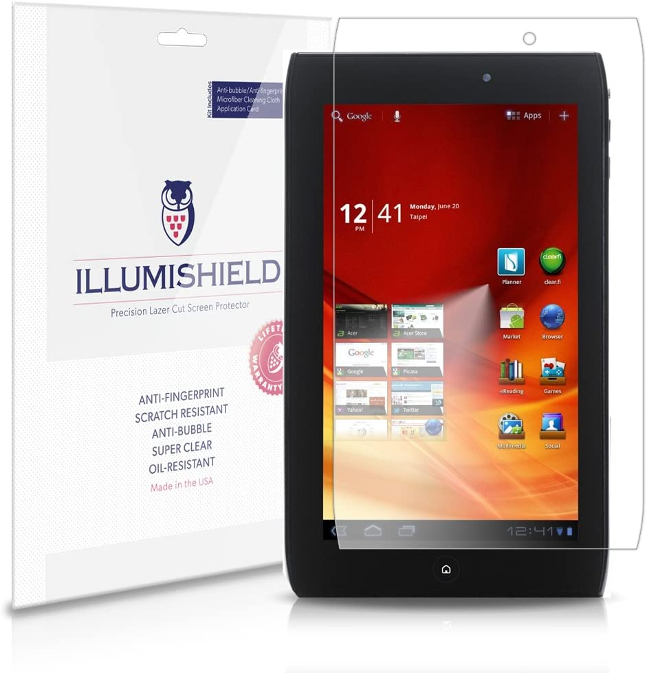iLLumiShield Screen Protector Compatible with Acer Iconia Tab A100 7 inch (3-Pack) Clear HD Shield Anti-Bubble and Anti-Fingerprint PET Film