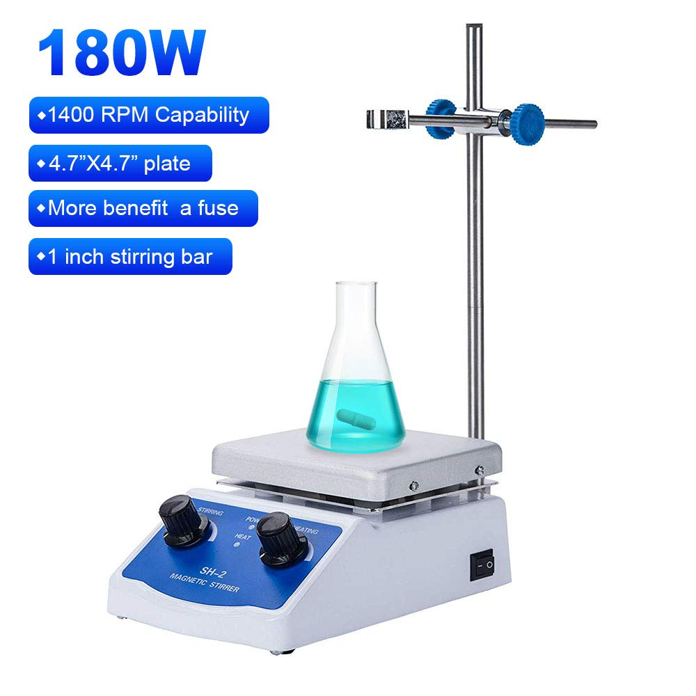 Magnetic Stirrer Hot Plate Mixer 1000ml Stirring Capacity 5 x 5 inch Max 716︒F Hotplate and 100-2000 RPM Stirrer, Stirring Bar & Support Stand Included by Slendor