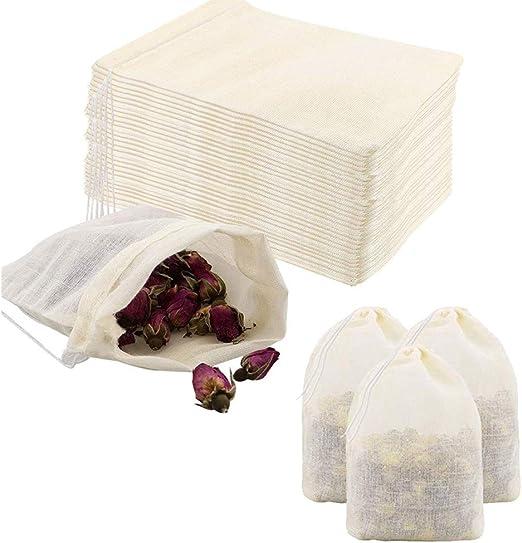 Oferta amazon: Pveath Bolsa de algodón con cordón, 60unidades, bolsa de algodón pequeña con cordón, bolsa de tela para verduras y frutas, bolsa de alimentos para bodas, fiestas, festivales, almacenes-13x18cm