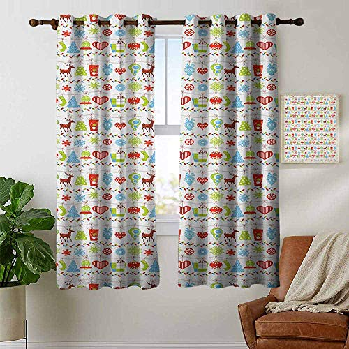 petpany Grommet Curtains Christmas,Old Xmas Icons Trees Hearts Bells Snowflakes Pine Ornaments Yuletide Artwork, Multicolor,Blackout Draperies for Bedroom Window 42