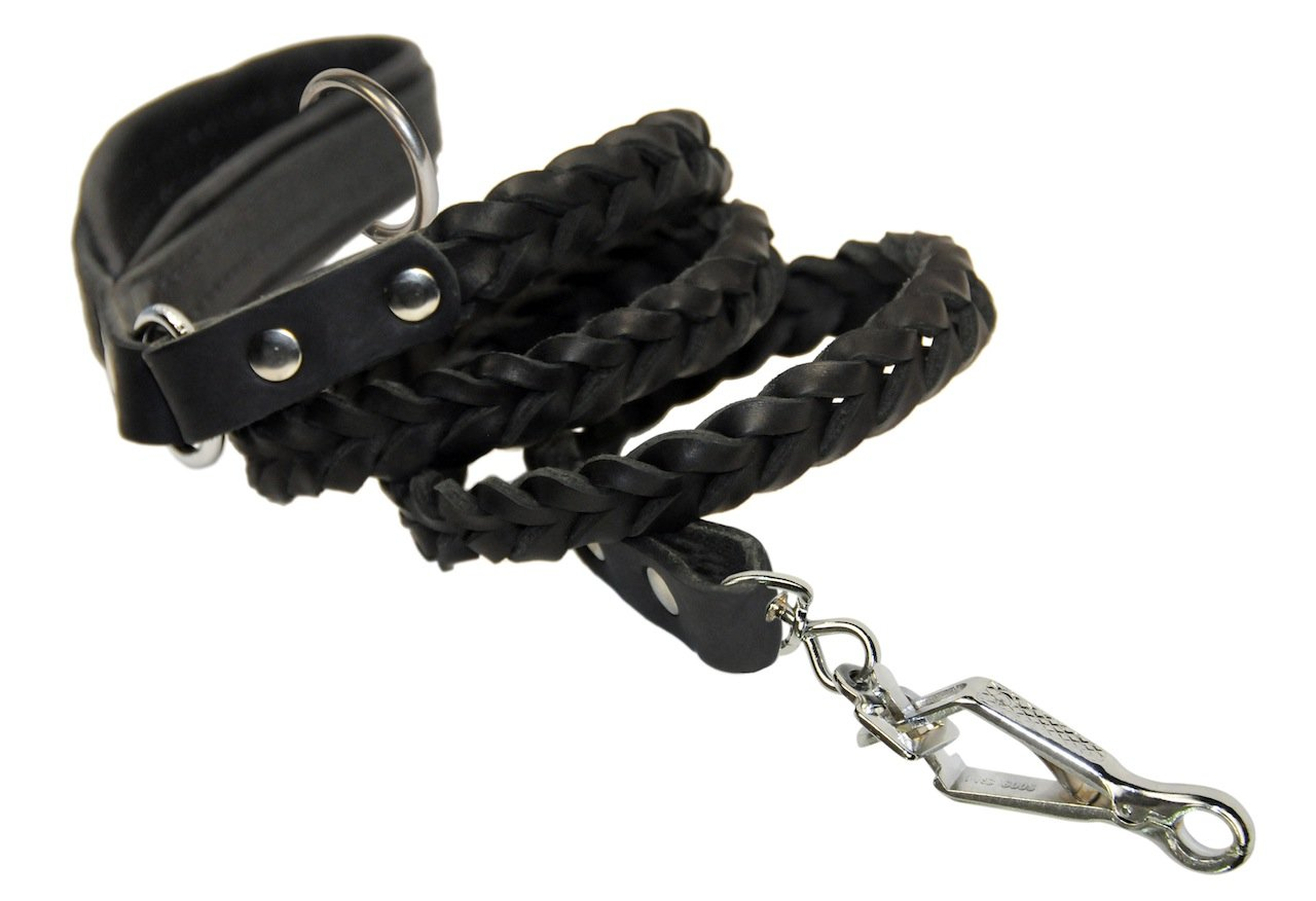 Dean & Tyler Comfort Braid Black Padding Dog Leash with Stainless Steel Ring on Handle and Herm Sprenger Hardware, 4-Feet by 3/4-Inch, Black