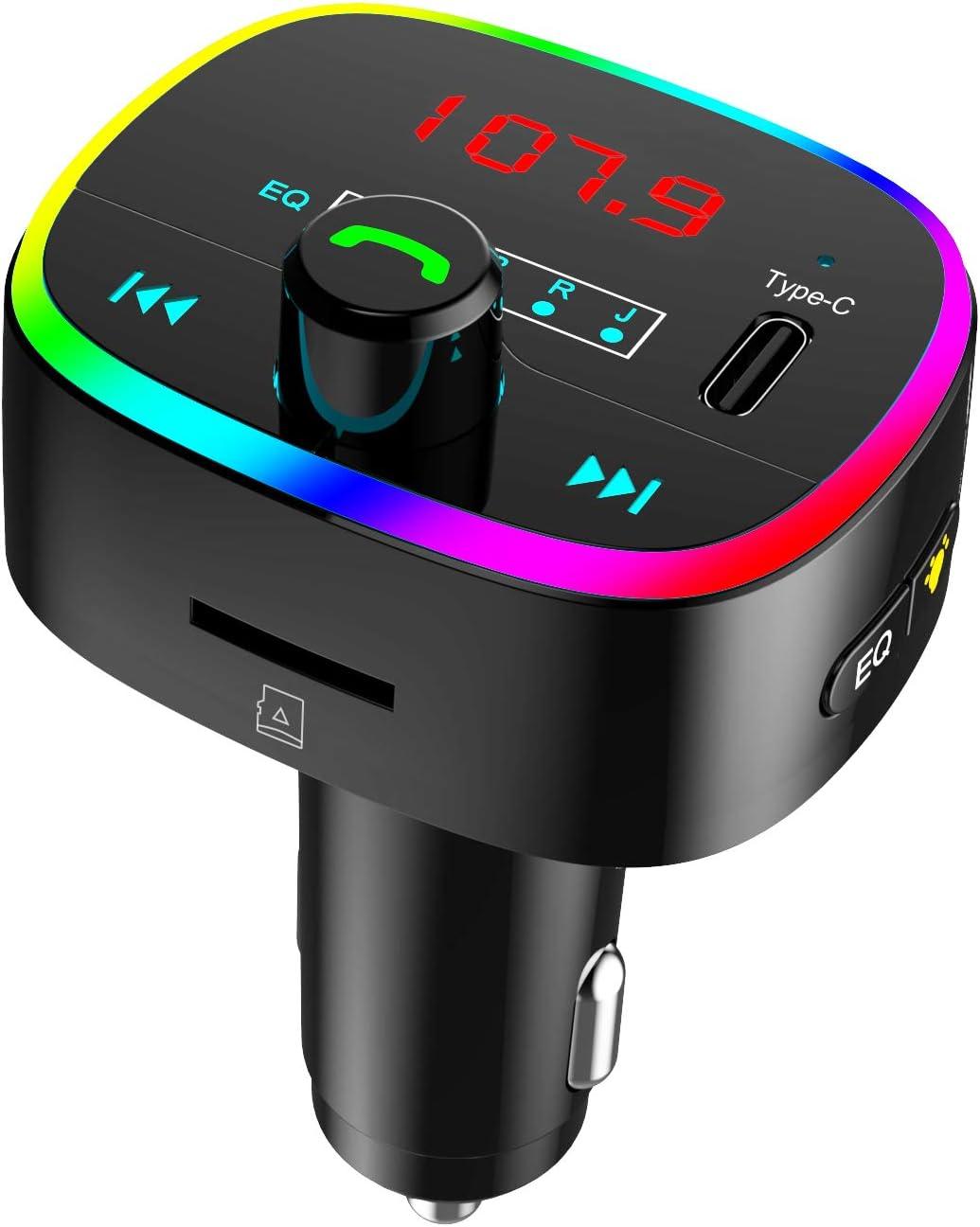 ZIIDOO Transmisor FM Bluetooth 5.0 Coche,Transmisor de Radio Inalámbrico Kit Adaptador de Coche con Función Manos Libres,LED 10 Colores, 2 Puertos USB y 1 Puerto Type-C, Soporte U-Disk/Tarjeta TF