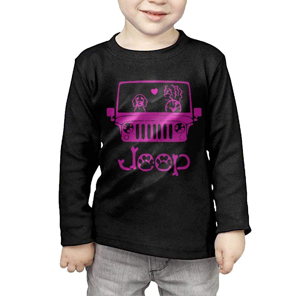 Long Sleeves Crew Neck Tee I Love Dog Jeep for Girls by Qiop Nee (Image #2)
