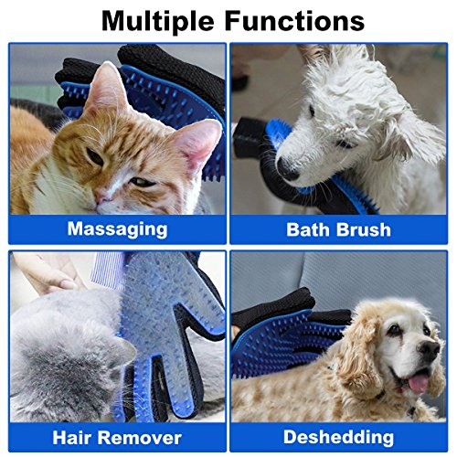 TeleShower Pet Grooming Glove Pet Hair Removal Mitt Brushing Glove Pet Deshedding Glove Pet Massage Tool, Perfect for Dogs & Cats with Long & Short Fur (2-Pack, Left + Right Hand)