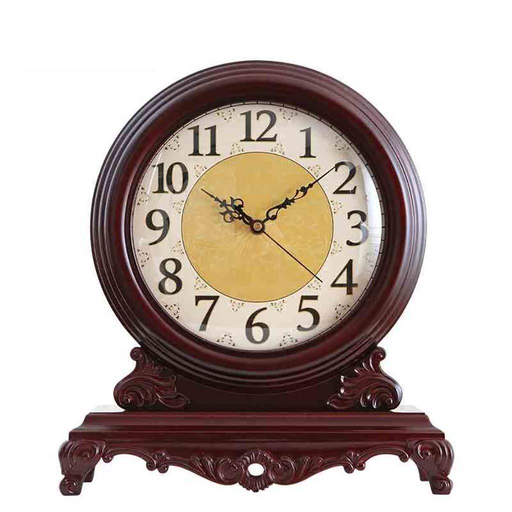 デスククロックファミリークロック新古典派時計、大型ソリッドウッドクリエイティブヨーロッパレトロミュートクロック装飾品、リビングルーム/ベッドルームに最適リビングルームのベッドルームオフィスに最適 B07TFCRW96