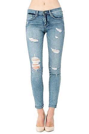 1709db7eb6b Sneak Peek Women's Distressed Mid Rise Skinny Jeans 3 Light SP-P9732L at  Amazon Women's Jeans store