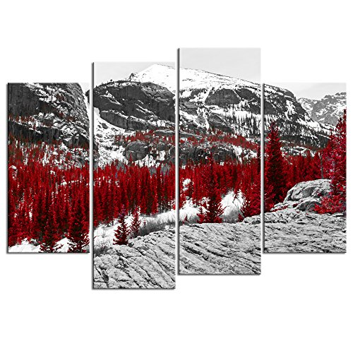 Sechars - Canvas Print Wall Art Nature Red fall Forest in Black and White Landscape Scene Picture Colorado Rocky Mountains Painting Giclee Print Modern Home Decor (Rockies Charm Colorado)