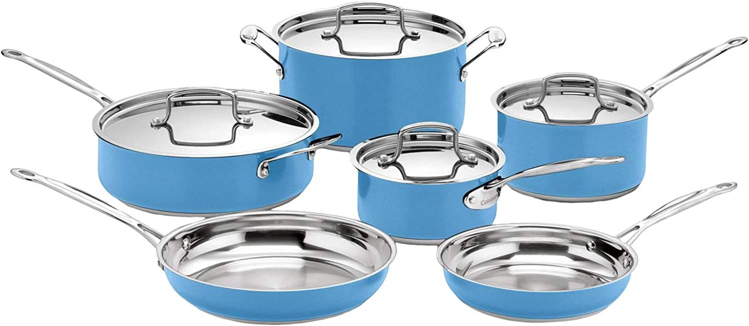 Cuisinart Stainless Steel Chef's Classic 10-Piece Cookware Set, Sky Blue
