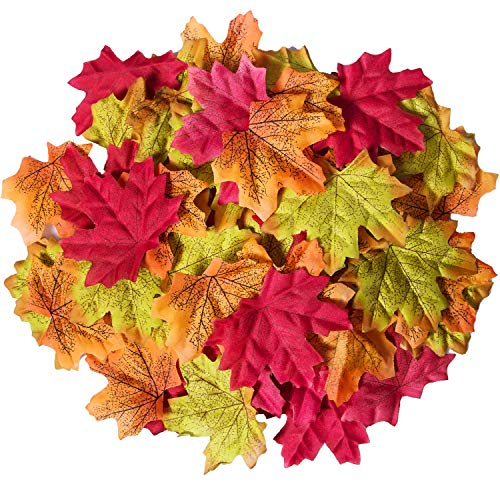 Bassion 210 Pcs Assorted Mixed Fall Colored Artificial Maple Leaves for Weddings, Events and Decorating -