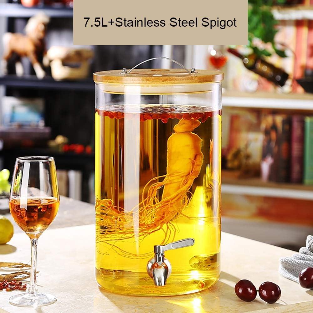 X-L-H ステンレス鋼の栓、竹のふた、樹脂の基盤が付いている5l / 7.5l / 10l飲み物ディスペンサーの飲料ディスペンサー (色 : 7.5L, サイズ さいず : Stainless Steel+Resin base)