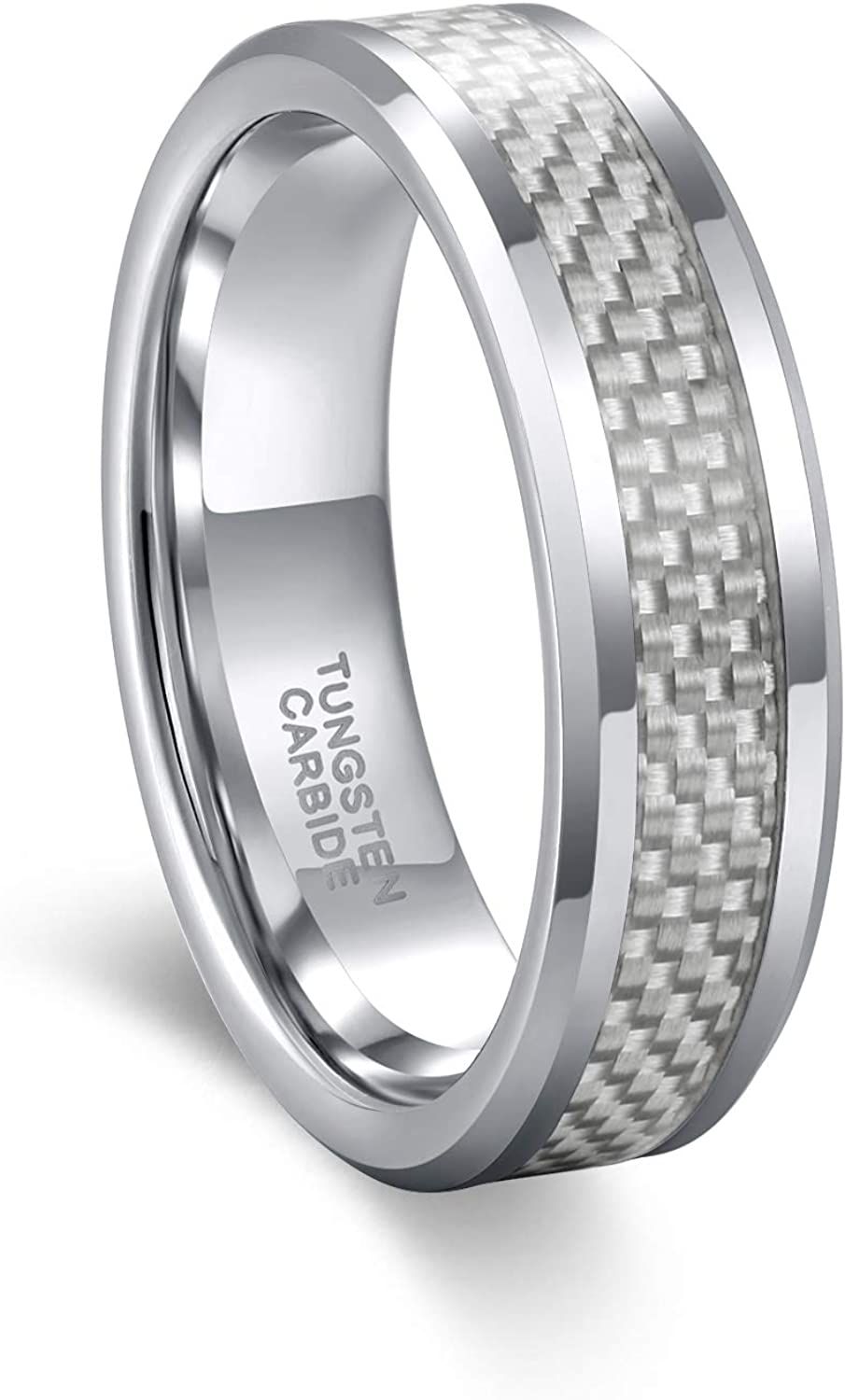 Frank S.Burton 6mm 8mm Tungsten Carbon Fiber Rings for Men Women Comfort Fit Wedding Bands Size 4.5-15