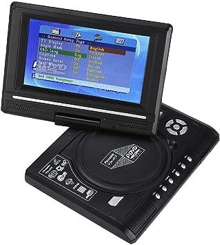 Reproductor de DVD Portátil, Reproductor DVD LCD Giratorio HD 7.8 Pulgadas Mini TV Recargable para Niños Automóviles con Soporte Entrada/salida AV SD/USB/FM Compatible con AVI EVD DVD VCD CD etc(UE): Amazon.es: Electrónica