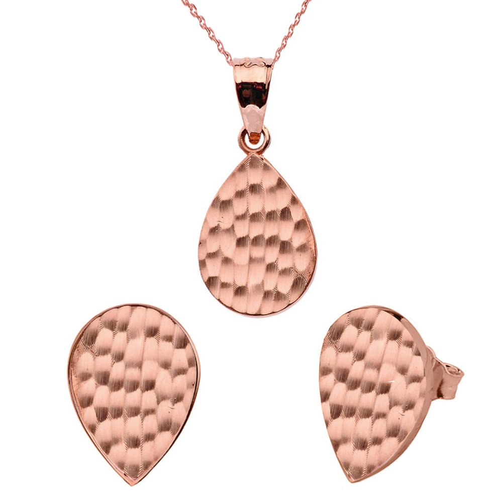 Fine 14k Rose Gold Love Hammered Tear Drop Charm Pendant Necklace and Earring Set, 20''