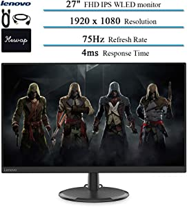 2020 Lenovo 27 Inch WLED Monitor for Business and Student, FHD, IPS, FreeSync, 75Hz Refresh Rate, HDMI, VGA, 16.7 Million Colors, 4ms Response Time, Ergonomic Design, Black w/HESVAP 3in1 Accessories