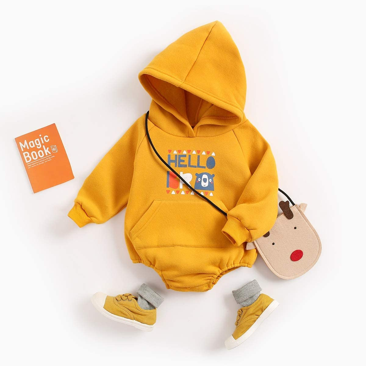 Sanlutoz Winter Baby Clothing Cartoon Long Sleeve Baby Bodysuits with Hooded Cotton