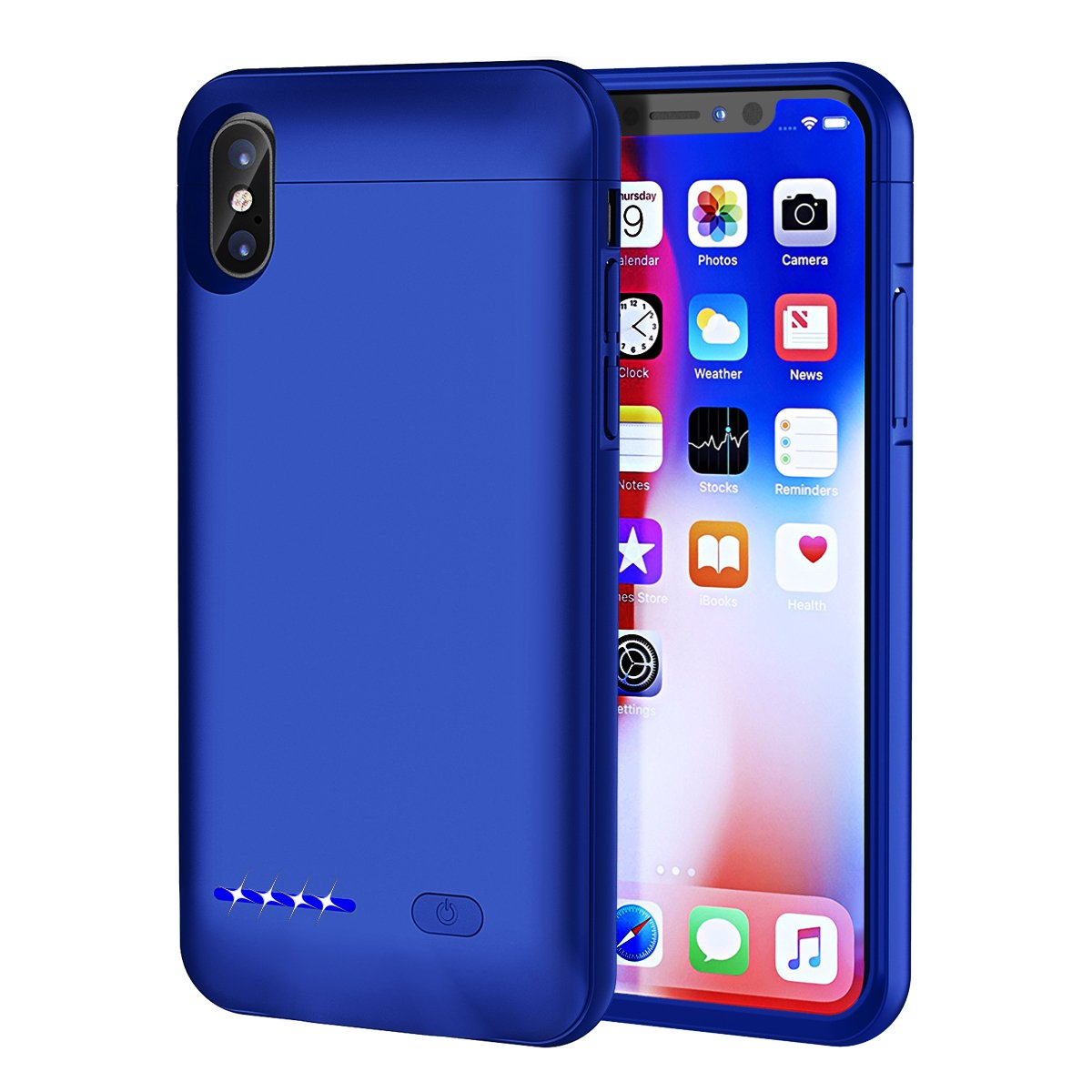 (Upgrade) iPhone X Battery Case,SUNWELL Slim Rechargeable External Battery 4000mAh Portable Charging Case for Apple iPhone X, iPhone 10 Charger Case,Battery Juice Pack with Magnatic Function (D-Blue)