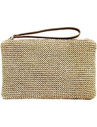 81be5c4e9f Straw Zipper Clutch Bag Bohemian Wristlet Womens Summer Beach Sea Purse and  Handbag