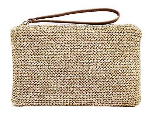 Hycurey Straw Zipper Clutch Bag Bohemian Wristlet Womens Summer Beach Sea Purse and Handbag Brown