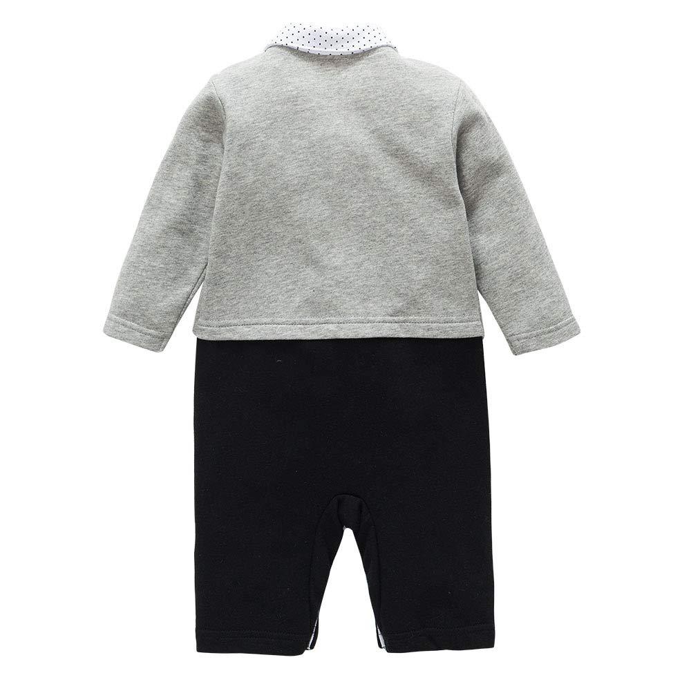 Color : Blue top, Size : 90 Eveliyning Toddler Baby Boys Gentleman Long Sleeve Bowtie Suit Cotton Romper Jumpsuit Contrast Color Stripe Autumn Fashion Onesies