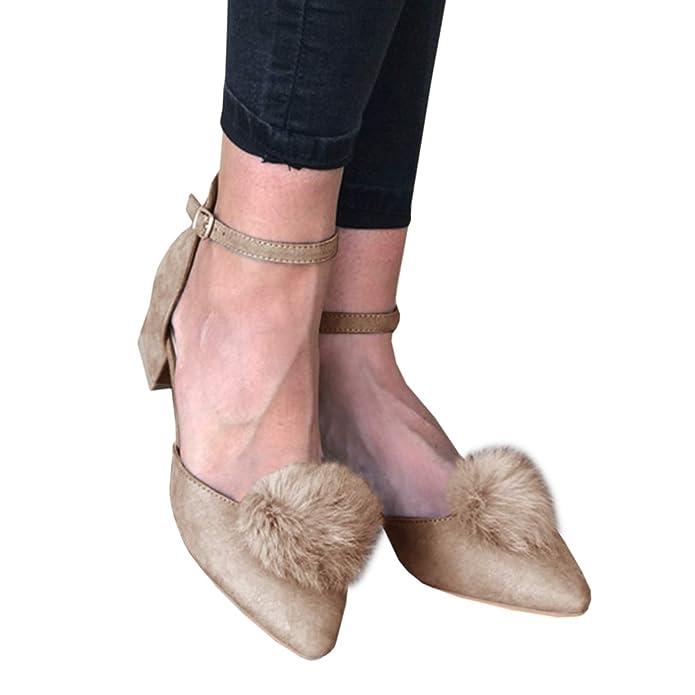 Amazon.com: FISACE Womens Suede Close Toe Haiball Pumps ...
