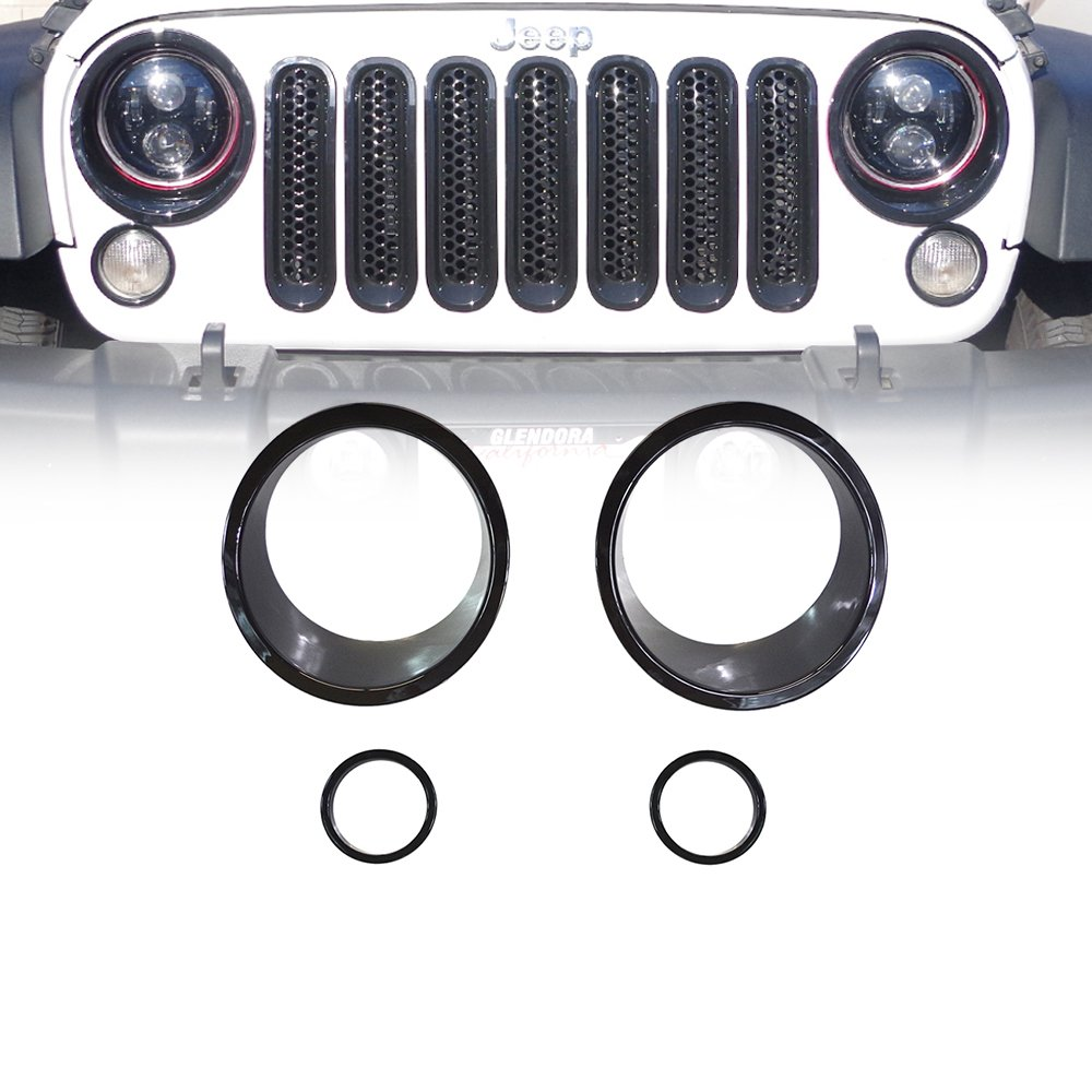 Xprite Red Front Grill Mesh Grille Insert Kit & Bezel Cover For Headlight and Turn Signal Light 2007-2018 Jeep Wrangler JK & JK Unlimited (11-Piece Set) WLB-0030R-H+G+T