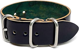 product image for DaLuca Shell Cordovan 1 Piece Military Watch Strap - Navy (Matte Buckle) : 20mm