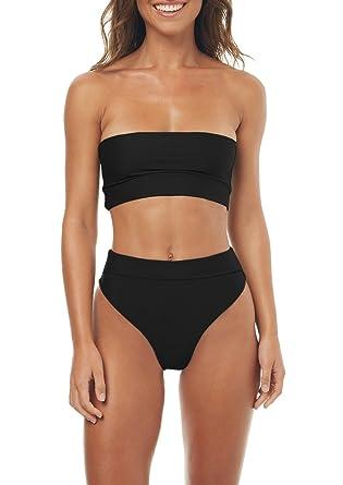 b873cd30e687c Amazon.com  Gemijack Womens Bandeau Bikini High Waisted Swimsuit Sexy Two  Piece High Cut Bathing Suit  Clothing