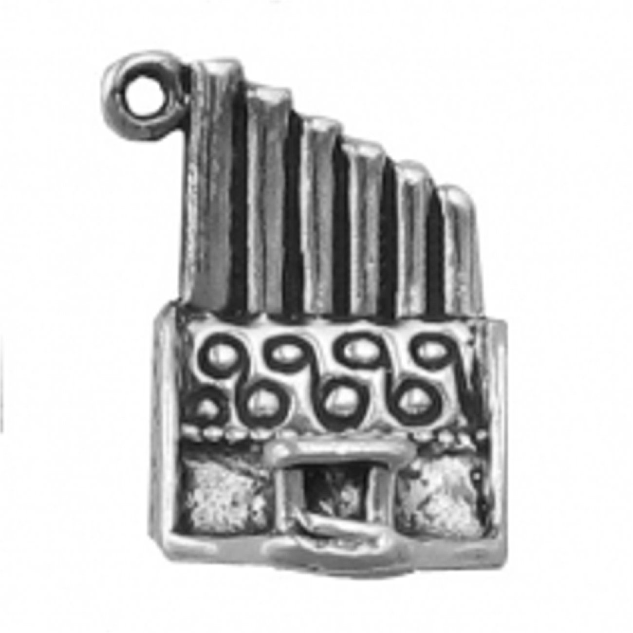 Sterling Silver Girls .8mm Box Chain 3D Pipe Organ Pendant Necklace With Bench
