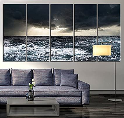 amazon com extra large wall art canvas black ocean wave wall art