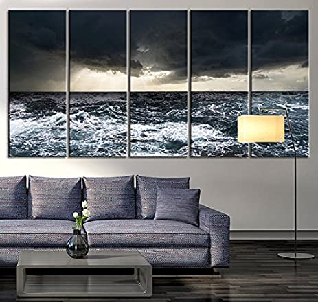 Extra Large Wall Art Canvas Black Ocean Wave, Wall Art Wave On Ocean Canvas  Print