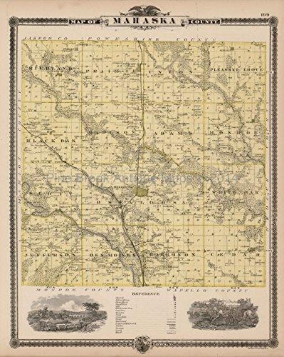 - Mahaska County Iowa Map Antique Andreas 1875 Authentic Decor History Ancestry Housewarming Gift