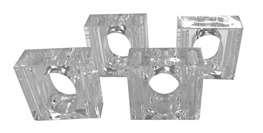 Tamus Clear Acrylic Salt & Pepper Napkin Rings (Set of 4)