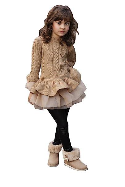 Steampunk Kids Costumes | Girl, Boy, Baby, Toddler Imily Bela Little Girls Sweater Ruffle Tutu Lace Dress Long Sleeve Cute Kids Jumper Tops XS-XL $30.99 AT vintagedancer.com