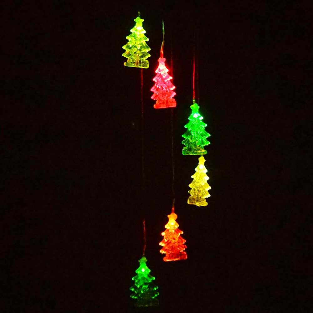 Color Changing Solar Wind Chime Light, LED Solar Light Wind Spinner Mobile Light for Outdoor Garden Patio Yard Pond Swimming Pool Decor (Christmas Tree)