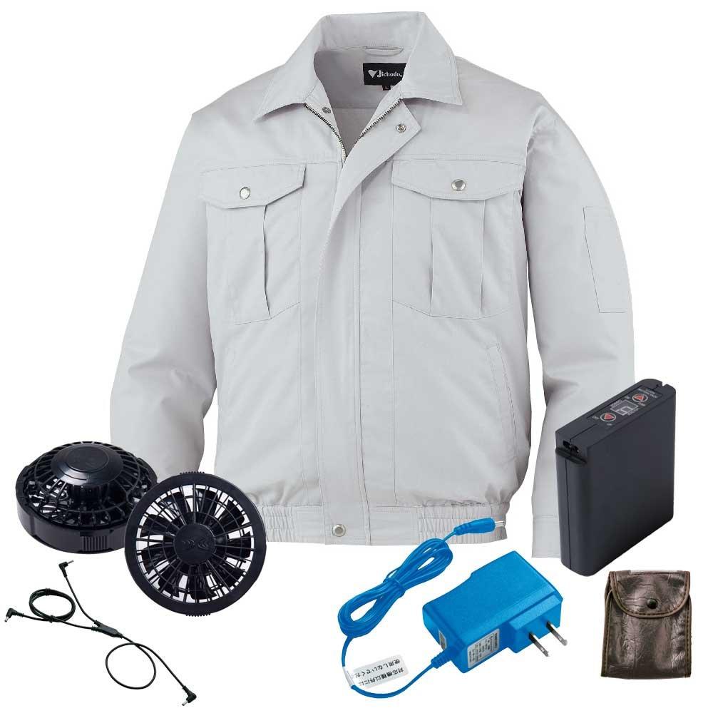 空調服 ブルゾン黒ファンバッテリーセット 87032 自重堂 B07D6YZKWL 5L|36シルバー 36シルバー 5L