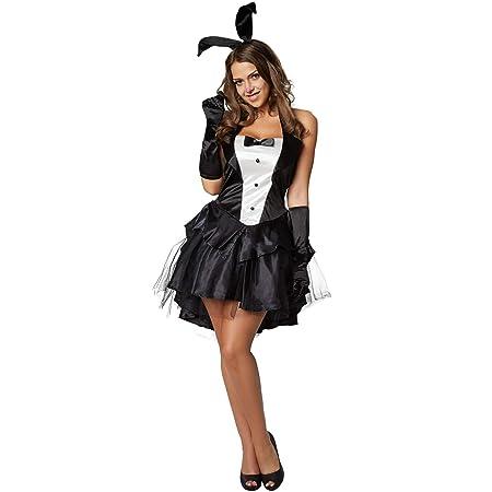 dressforfun 900476 - Damenkostüm sexy Bunny, Kurzes Kleid mit Neckholderoberteil und fünflagigem Rock