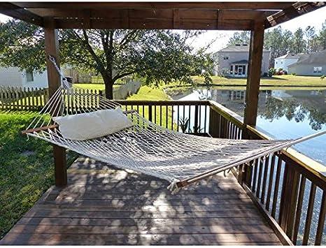 Desconocido Castaway Hamaca de cuerda de algodón natural con almohada hecha de cuerda, acero, madera y algodón: Amazon.es: Jardín
