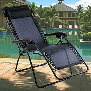 Lettuce Eat ® Textoline Reclining Garden Chair Beach Sun Lounger Recliner Chairs in Black Weatherproof Textoline With…