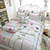 MeMoreCool New Arrival! High-grade Spring and Summer Dimensional Flower 6 Pieces Bedding Set Sweet Design Girly Quilt Covers Set 100% Cotton Lace Bed Skirt Girls Princess Bedding Set Full